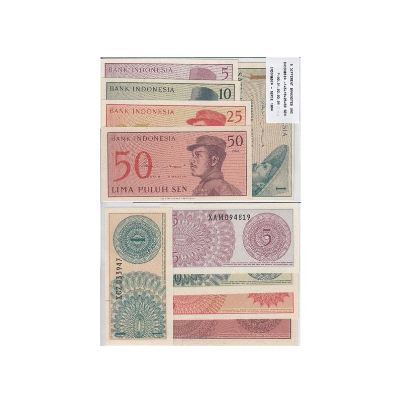 INDONÉSIA - LOTE DE 5 NOTAS DIFERENTES-SERIE 1964 ( NÃO CIRCULADA )