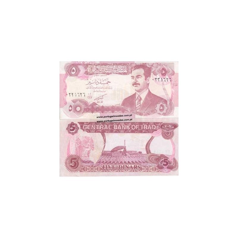 IRAQUE- NOTA DE 5 DINARS 1992 (NÃO CIRCULADA)