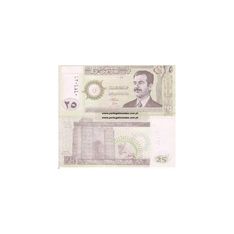 IRAQUE- NOTA DE 25 DINARS 2001 (NÃO CIRCULADA)