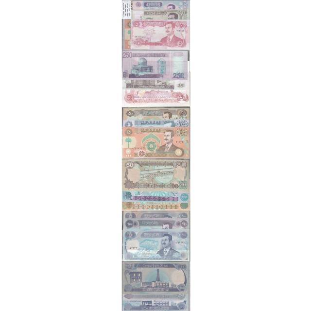 IRAQUE - LOTE DE 9 NOTAS DIFERENTES-SERIE 1990-2002 ( NÃO CIRCULADA )