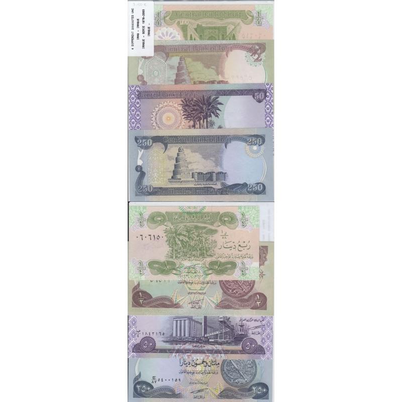 IRAQUE - LOTE DE 4 NOTAS DIFERENTES-SERIE 1978-2003 ( NÃO CIRCULADA )