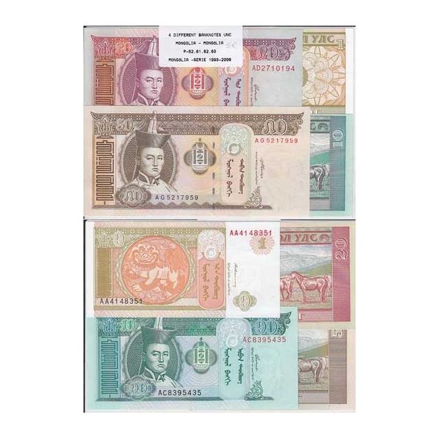 MONGÓLIA - LOTE DE 4 NOTAS DIFERENTES-SERIE 1993-2008 ( NÃO CIRCULADAS)