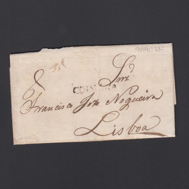 Carta Pré-Filatélica circulada de Coimbra para Lisboa datada de 17-04-1830