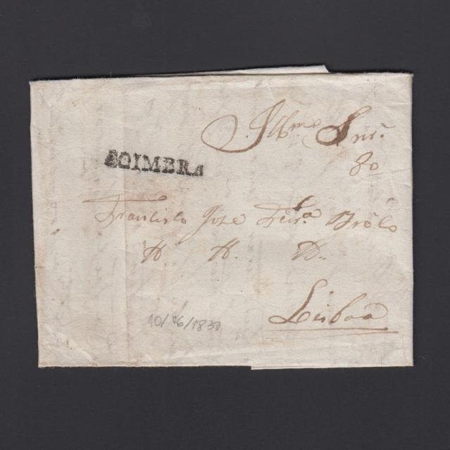 Carta Pré-Filatélica circulada de Coimbra para Lisboa datada de 10-06-1830