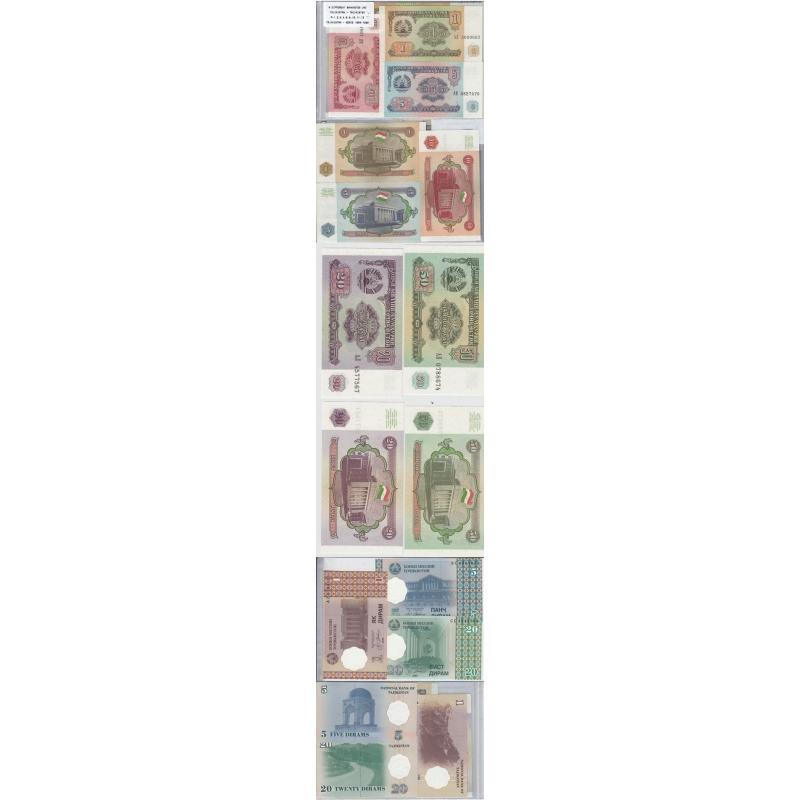 TAJIKISTÃO - LOTE DE 8 NOTAS DIFERENTES - SERIE 1994-1999 (NÃO CIRCULADAS)