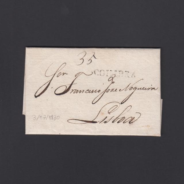 Carta Pré-Filatélica circulada de Coimbra para Lisboa datada de 03-07-1830