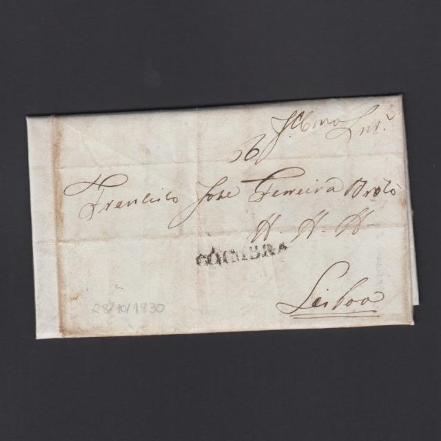 Carta Pré-Filatélica circulada de Coimbra para Lisboa datada de 28-10-1830