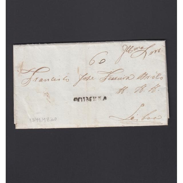 Carta Pré-Filatélica circulada de Coimbra para Lisboa datada de 13-11-1830