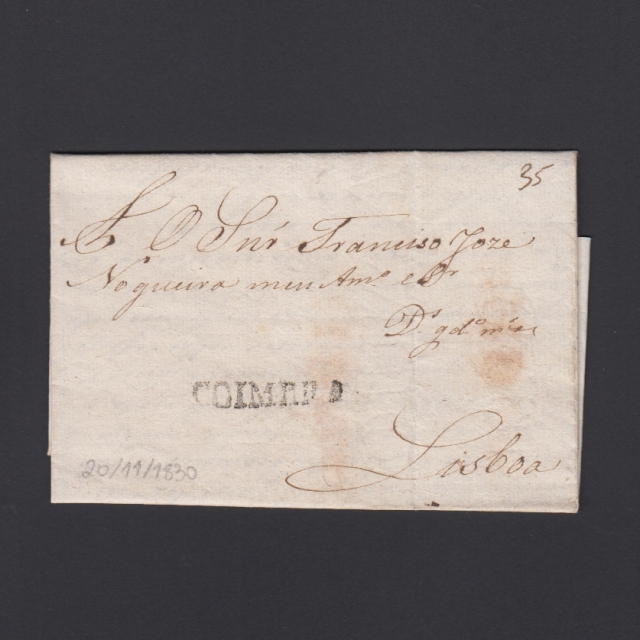 Carta Pré-Filatélica circulada de Coimbra para Lisboa datada de 20-11-1830