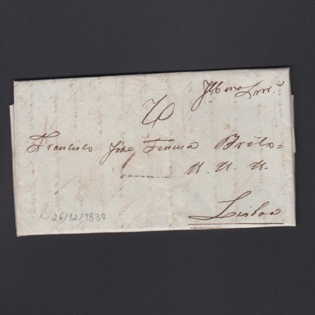 Carta Pré-Filatélica circulada de Coimbra para Lisboa datada de 26-12-1830