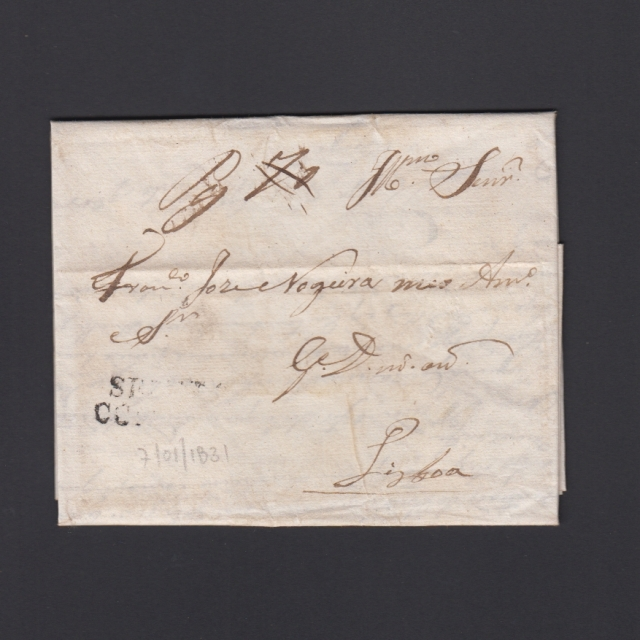 Carta Pré-Filatélica circulada de Coimbra para Lisboa datada de 07-01-1831