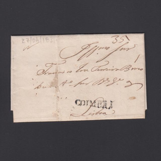 Carta Pré-Filatélica circulada de Coimbra para Lisboa datada de 27-04-1831