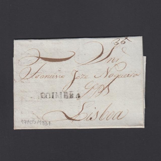Carta Pré-Filatélica circulada de Coimbra para Lisboa datada de 17-05-1831