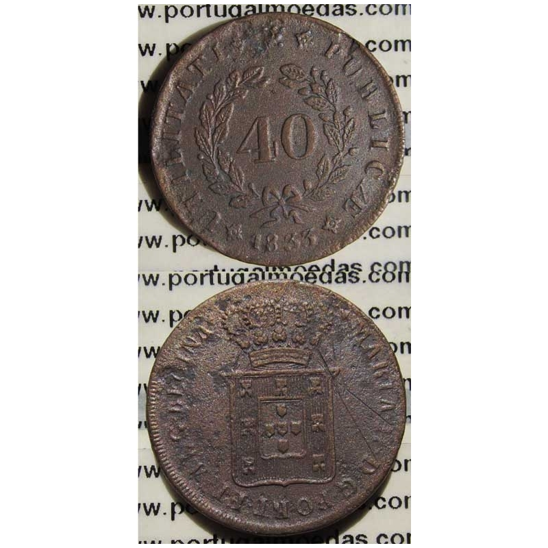 40 REIS BRONZE 1833 - PATACO SÉRIE DOS LOIOS (MBC) MÓDULO 35MM HR