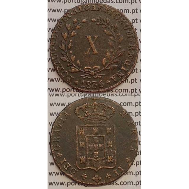 MOEDA X REIS COBRE 1836 (MBC+) MÓDULO MENOR 33mm - D.MARIA II