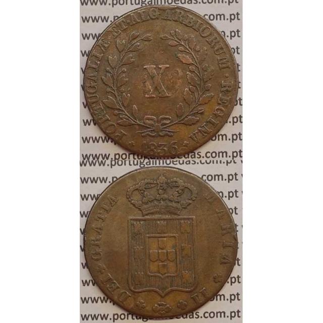 MOEDA X REIS COBRE 1836 (BC+) MÓDULO MENOR 33mm - D.MARIA II