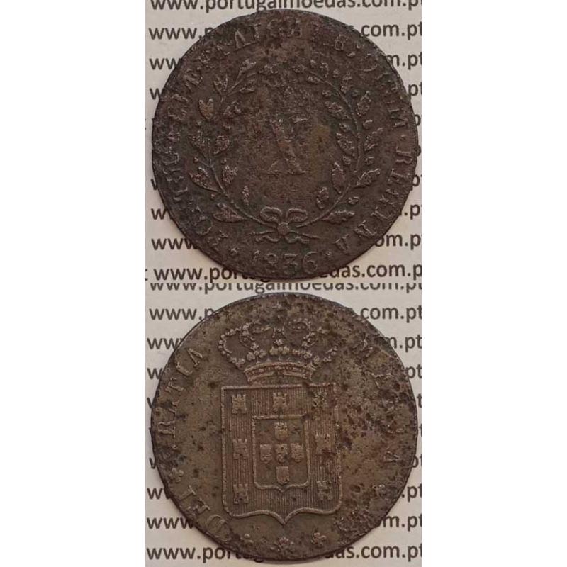 MOEDA X REIS COBRE 1836 (BC) MÓDULO MENOR 33mm - D.MARIA II