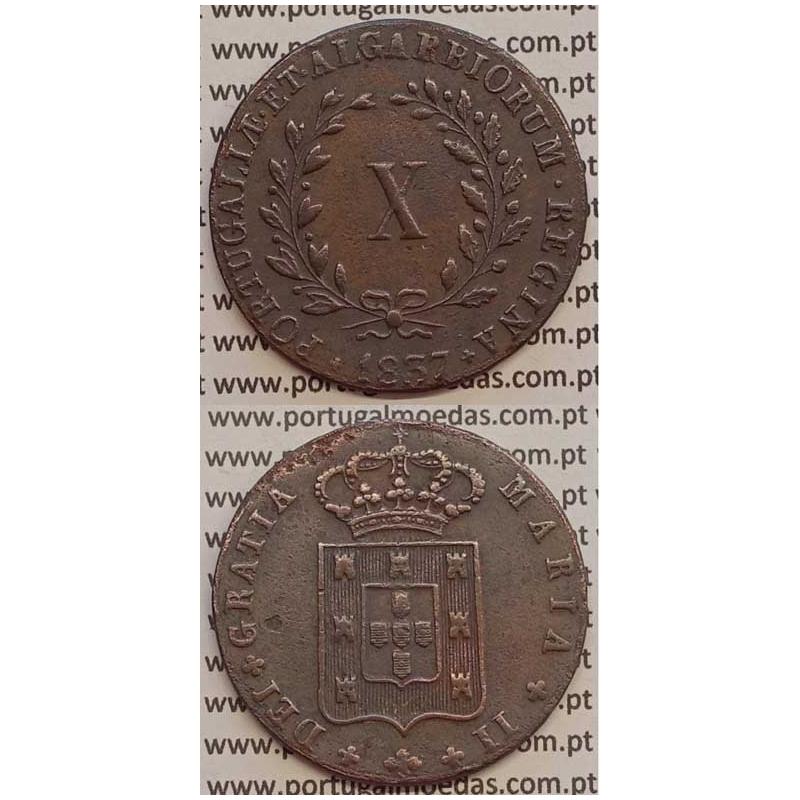 MOEDA X REIS COBRE 1837 (MBC+/BELA) MÓDULO MENOR 33mm - D.MARIA II
