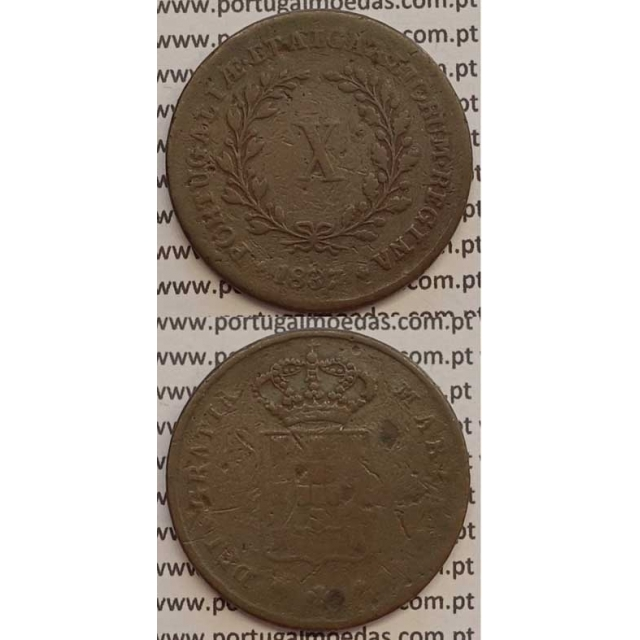 MOEDA X REIS COBRE 1837 (BC) MÓDULO MENOR 32mm - D.MARIA II