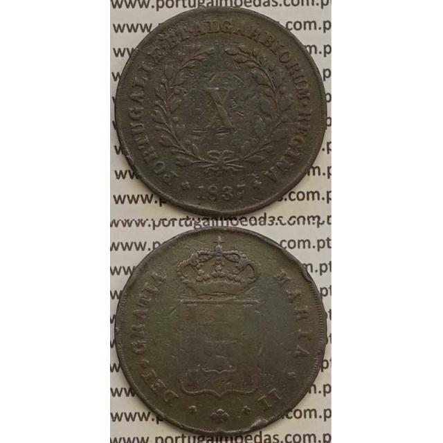 MOEDA X REIS COBRE 1837 (BC+) MÓDULO MENOR 32mm - D.MARIA II