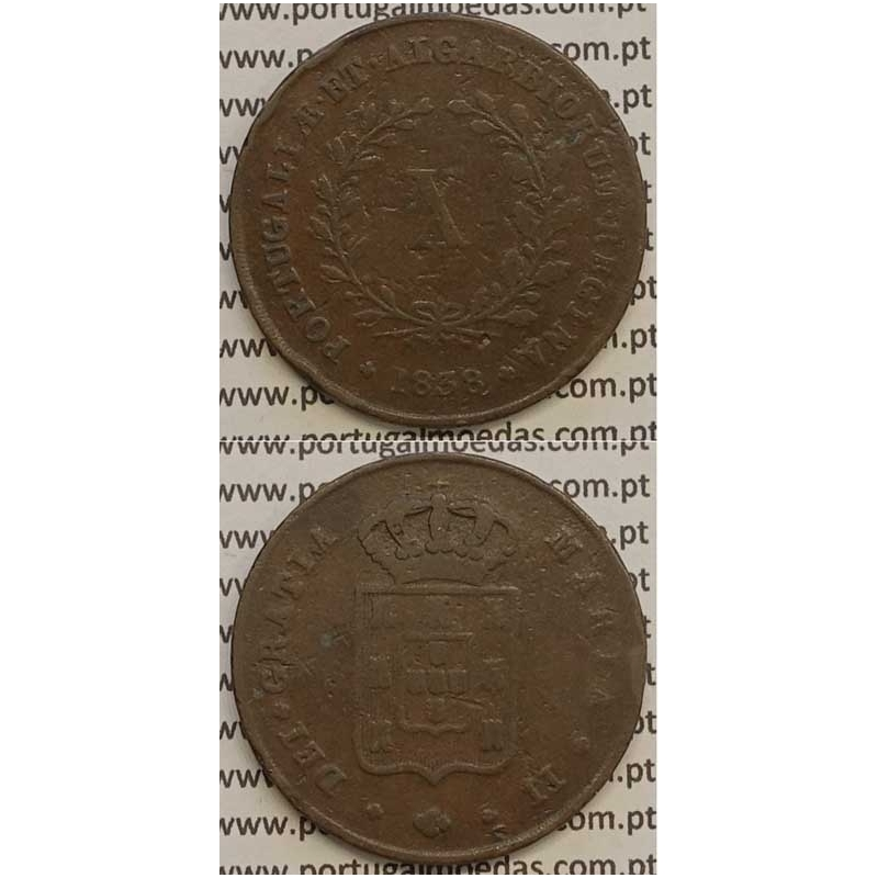 MOEDA X REIS COBRE 1838 (BC+/MBC) MÓDULO MENOR 32mm - D.MARIA II
