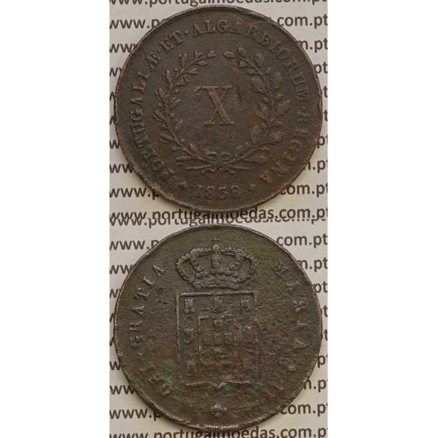 MOEDA X REIS COBRE 1838 (BC+) MÓDULO MENOR 32mm - D.MARIA II