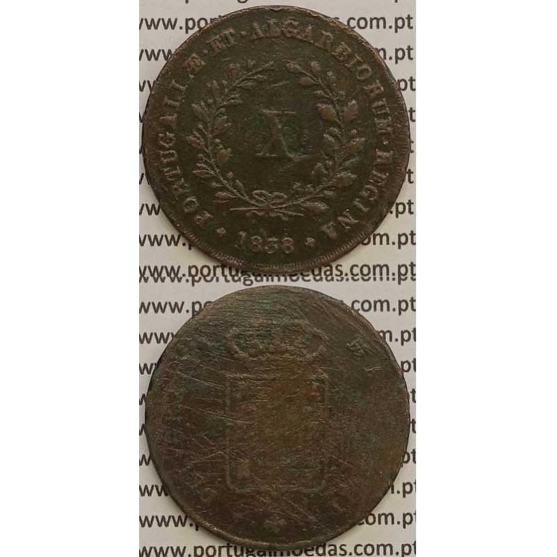 MOEDA X REIS COBRE 1838 (BC) MÓDULO MENOR 32mm - D.MARIA II