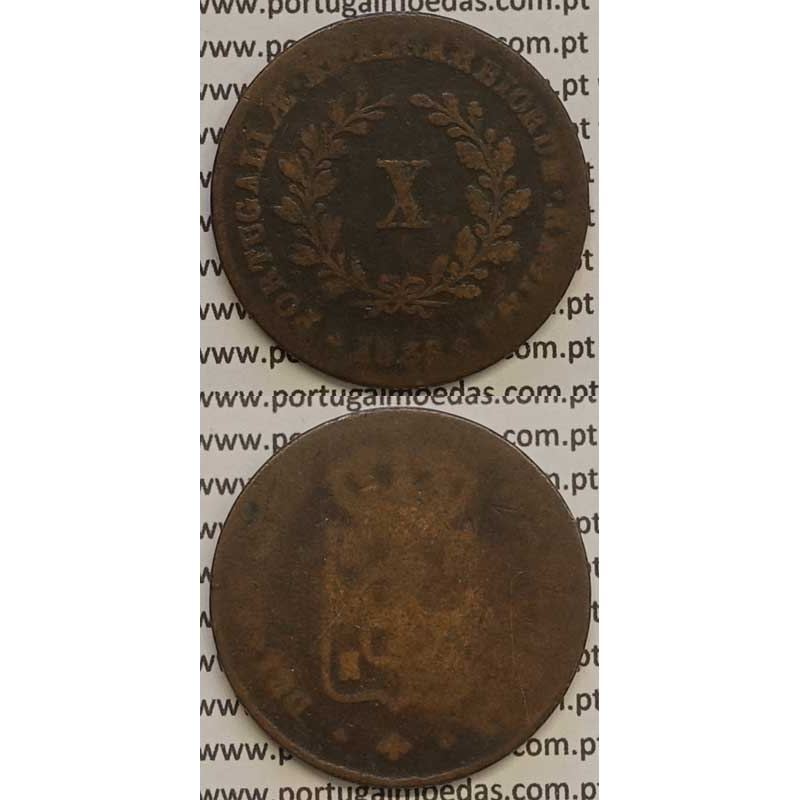 MOEDA X REIS COBRE 1838 (BC-/REG) MÓDULO MENOR 32mm - D.MARIA II