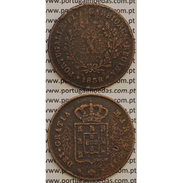 MOEDA X REIS COBRE 1838 (BC-) MÓDULO MENOR 32mm - D.MARIA II