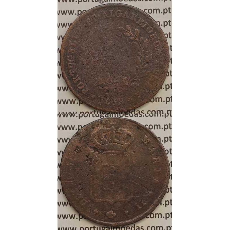 MOEDA X REIS COBRE 1838 (REG) MÓDULO MENOR 32mm - D.MARIA II