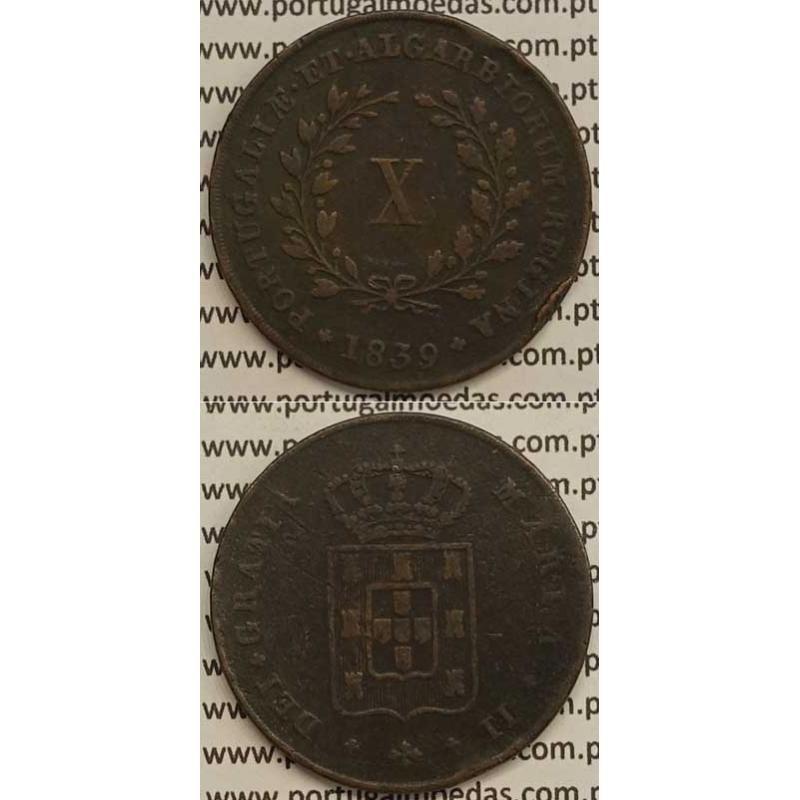 MOEDA X REIS COBRE 1839 (BC+) MÓDULO MENOR 32mm - D.MARIA II