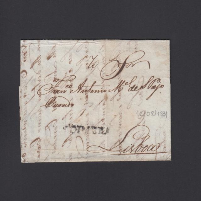 Carta Pré-Filatélica circulada de Coimbra para Lisboa datada de 12-08-1831