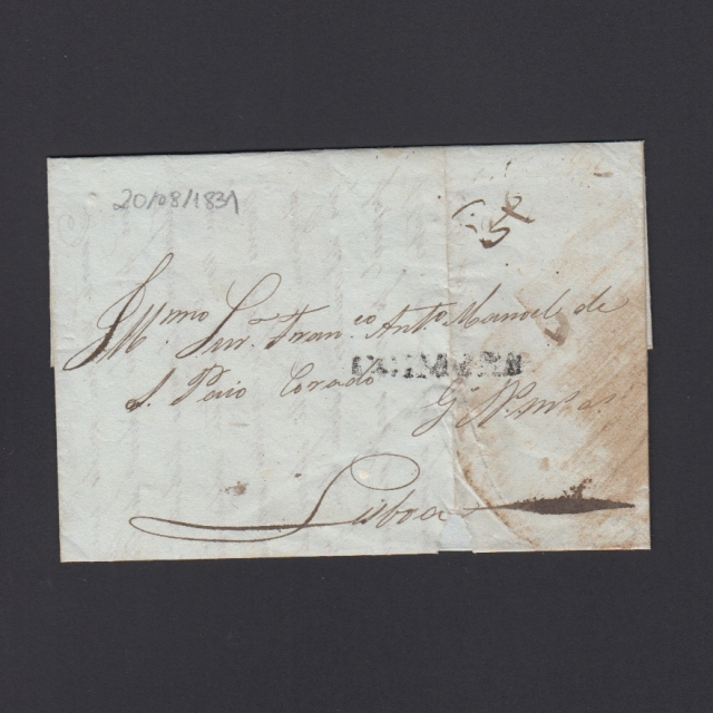 Carta Pré-Filatélica circulada de Coimbra para Lisboa datada de 20-08-1831