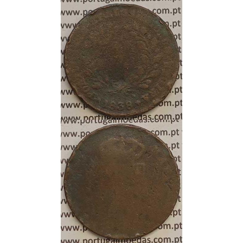 MOEDA X REIS COBRE 1838 (REG) MÓDULO MENOR 32mm - ALGARISMOS MAIORES - D.MARIA II