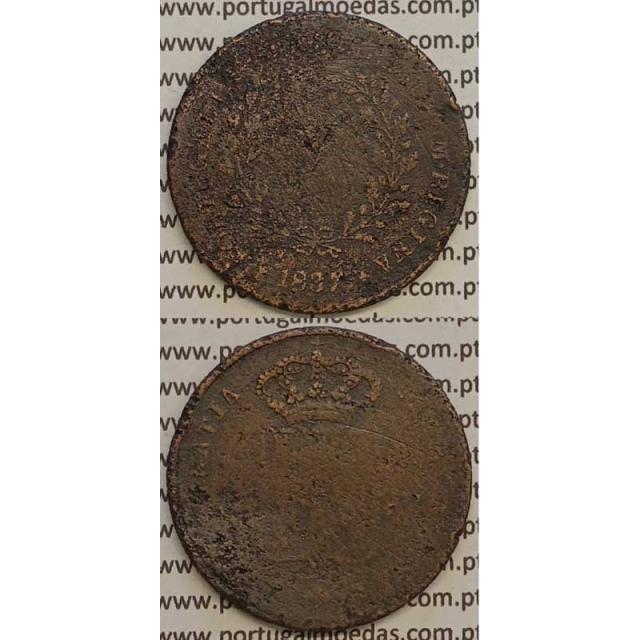 MOEDA X REIS COBRE 1837 (REG) MÓDULO MENOR 31mm - D.MARIA II