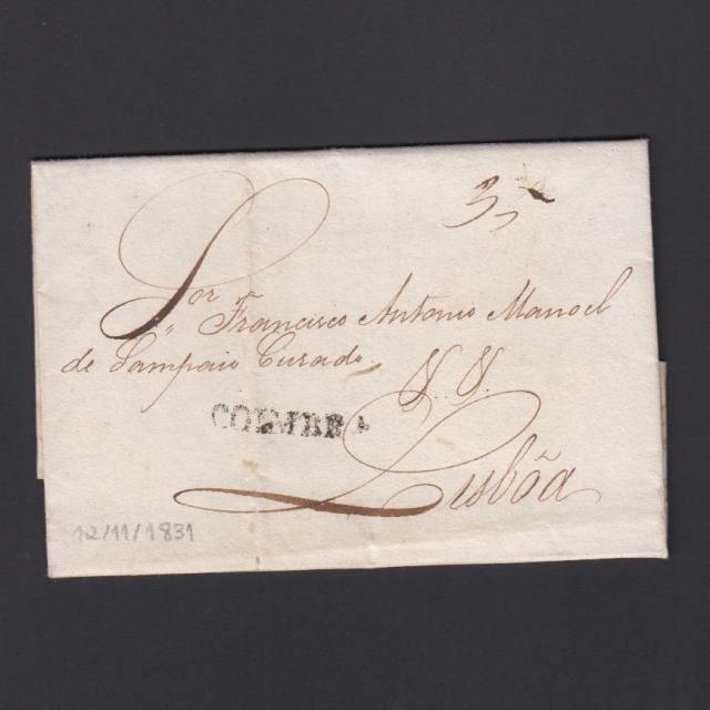 Carta Pré-Filatélica circulada de Coimbra para Lisboa datada de 12-11-1831