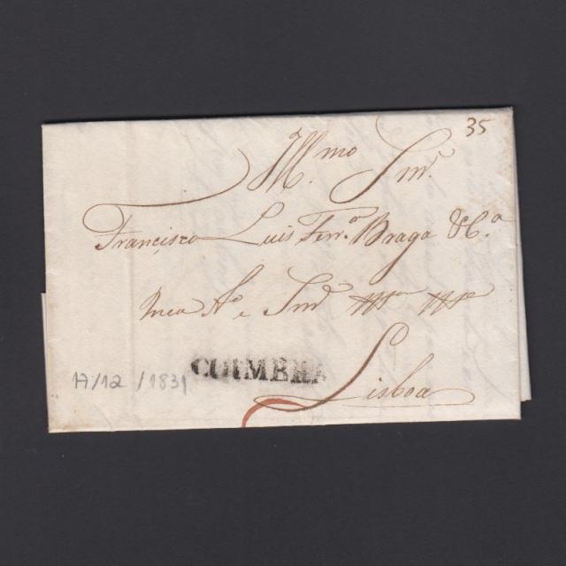 Carta Pré-Filatélica circulada de Coimbra para Lisboa datada de 17-12-183