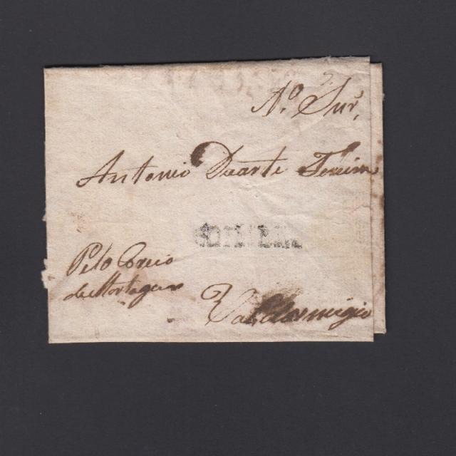 Carta Pré-Filatélica circulada de Coimbra para Vale de Remígio datada de 09-01-1832