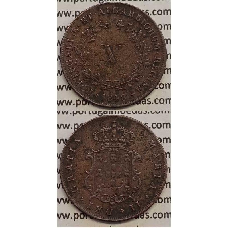 MOEDA V REIS COBRE 1848 (MBC) - D.MARIA II