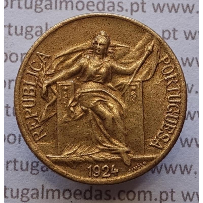 50 Centavos 1924 Bronze-Alumínio, $50 centavos 1924 Alumínio-Bronze da Republica, (MBC+/Bela), World Coins Portugal KM575