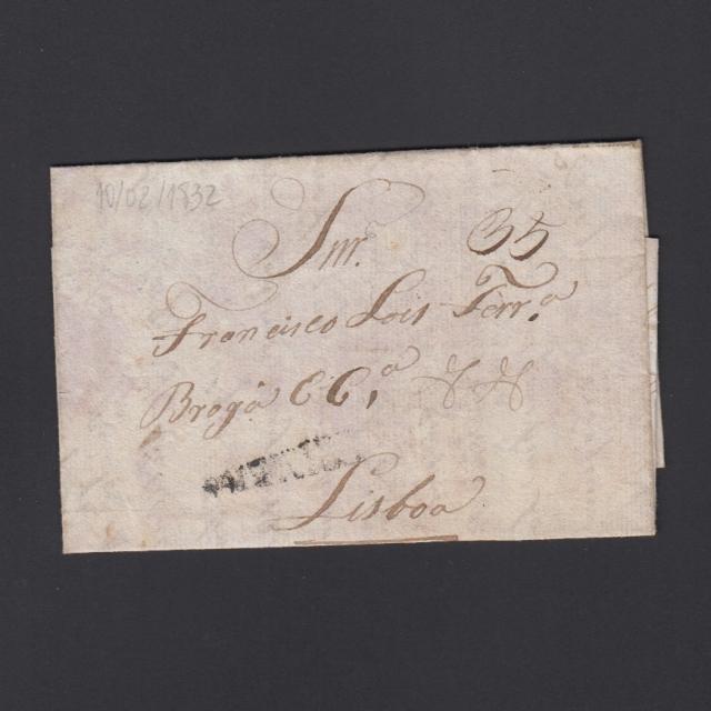 Carta Pré-Filatélica circulada de Coimbra para Lisboa datada de 10-02-1832