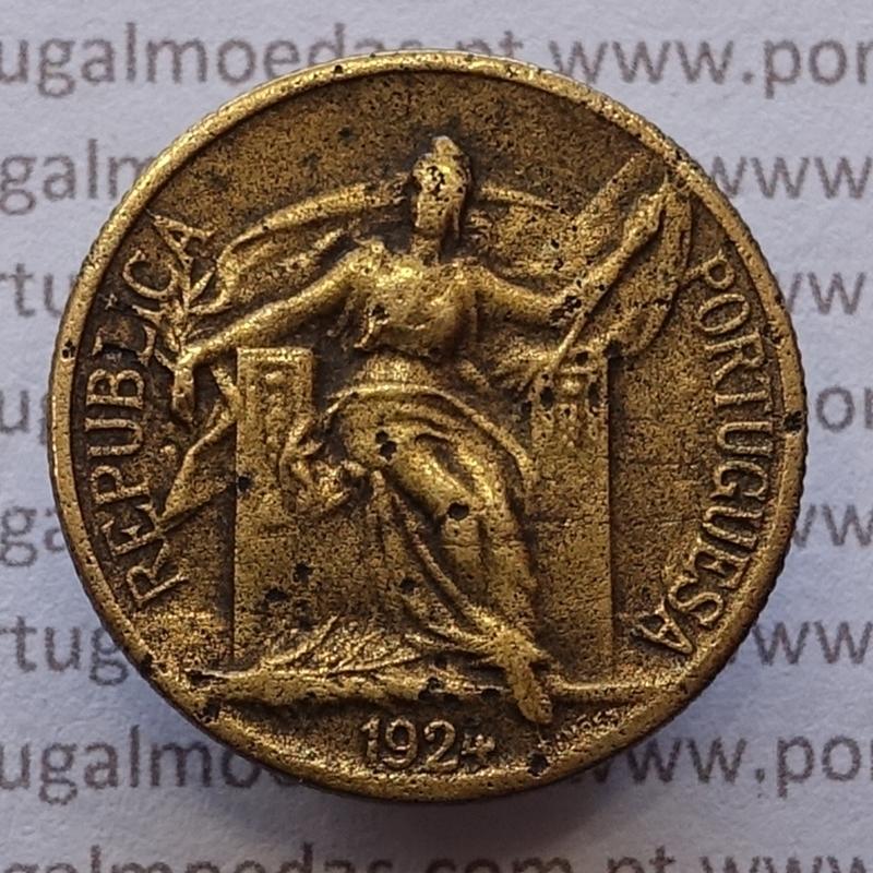 50 Centavos 1924 Bronze-Alumínio, $50 centavos 1924 Alumínio-Bronze Republica Portuguesa, (MBC), World Coins Portugal  KM 575
