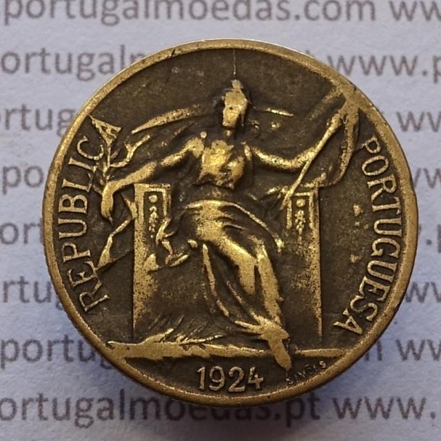 MOEDA DE CINQUENTA CENTAVOS (50 CENTAVOS) BRONZE ALUMÍNIO 1924 MBC