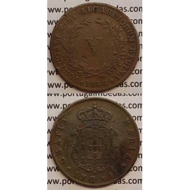 MOEDA V REIS COBRE 1848 (BC+) - D.MARIA II