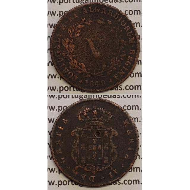 MOEDA V REIS COBRE 1848 (BC) - D.MARIA II