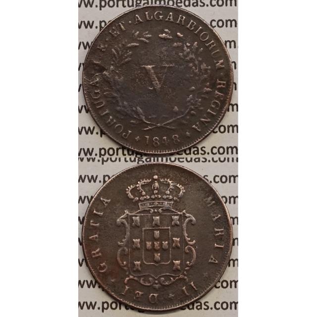MOEDA V REIS COBRE 1848 (MBC-) - D.MARIA II