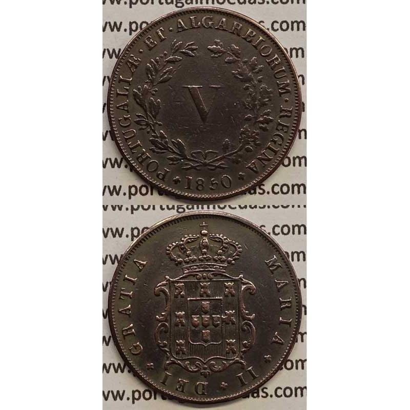 MOEDA V REIS COBRE 1850 (MBC) - D.MARIA II