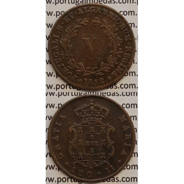 MOEDA V REIS COBRE 1852 (MBC) - D.MARIA II