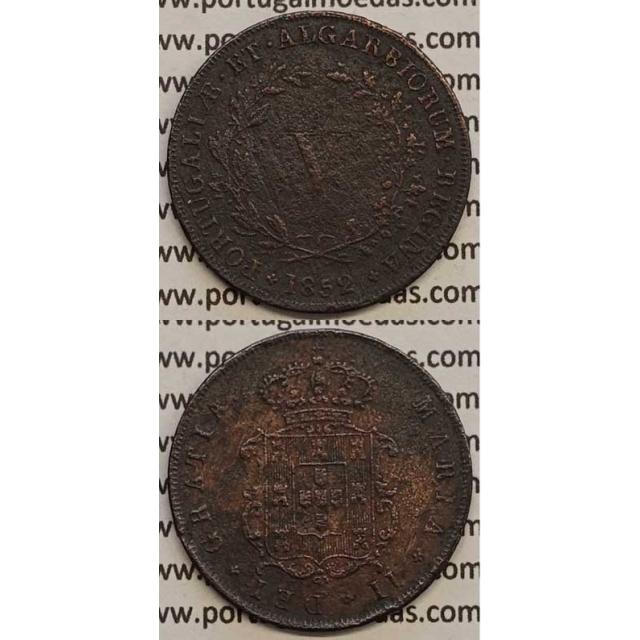 MOEDA V REIS COBRE 1852 (BC+) - D.MARIA II