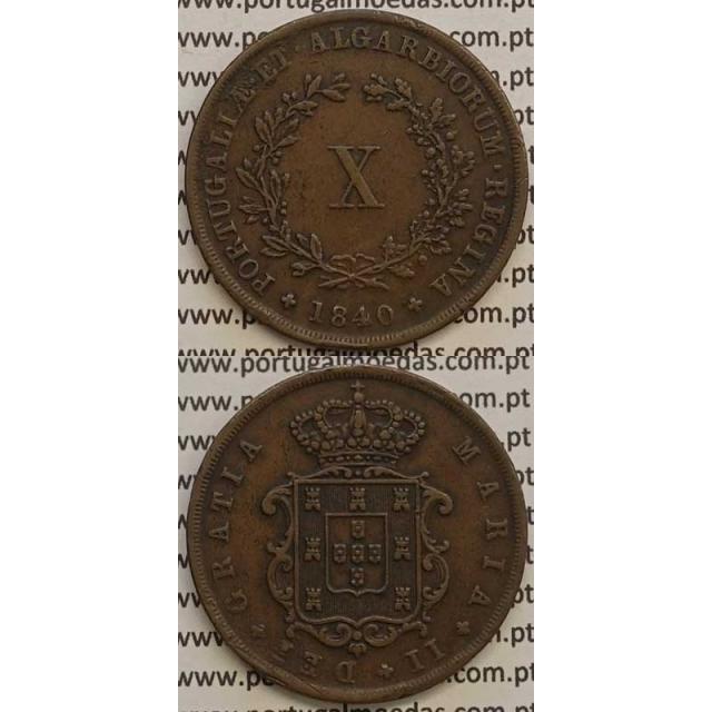 MOEDA X REIS COBRE 1840 (MBC+/BELA) - D.MARIA II